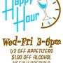 Happy Hour 1/2 off Apps and $1 off Alcohol 3-6pm