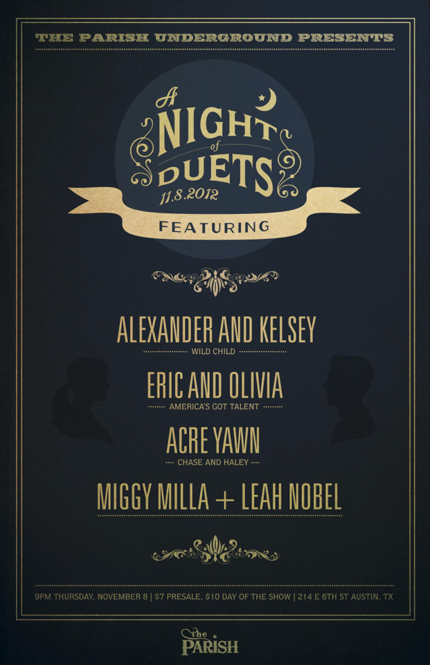 The Parish Underground presents A night of Duets! with, Kelsey and Alex (of Wild Child), Eric and Olivia (from America's Got Tal