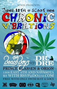 Scion Presents Chronic Vibrations: The Beach Boys vs Dr. Dre with Prince Klassen and Orion (RSVP Closed - $5 At Door)