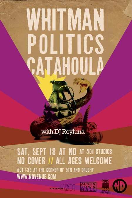Whitman w/ Politics - Free Show!