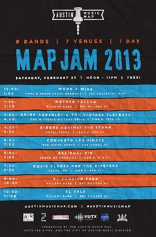 KUT & Austin Music Map presents: MapJam 2013! 9 bands, 8 venues, 1 day