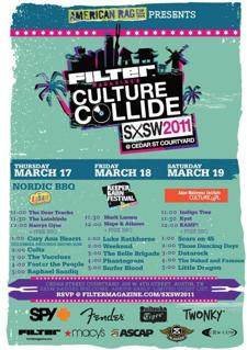 American Rag Presents FILTER Magazine's Culture Collide SXSW 2011 at Cedar Street Courtyard (Free w/ RSVP, Free BBQ)