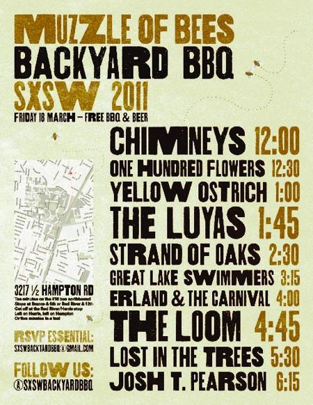 Muzzle of Bees Backyard BBQ SXSW 2011: Josh T. Pearson, Lost in the Trees & More! (Free w/ RSVP on Do512)
