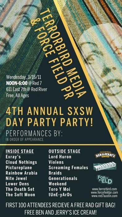 Terrorbird Media & Force Field PR Present: 4th Annual SXSW Day Party! Cloud Nothings, Pictureplane, Toro y Moi (Free, All Ages)