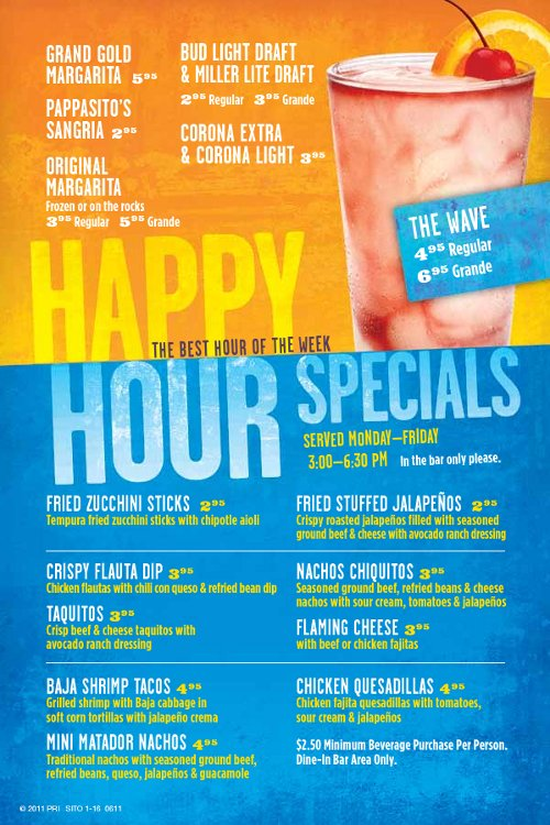 Happy Hour 3 6 30 Half Price Appetizers And Drink