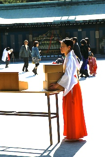 Miko at Meiji Shrine, Tokyo