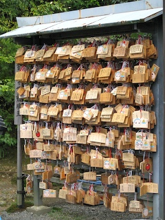 Ema (votive plaques) at Shinto shrine
