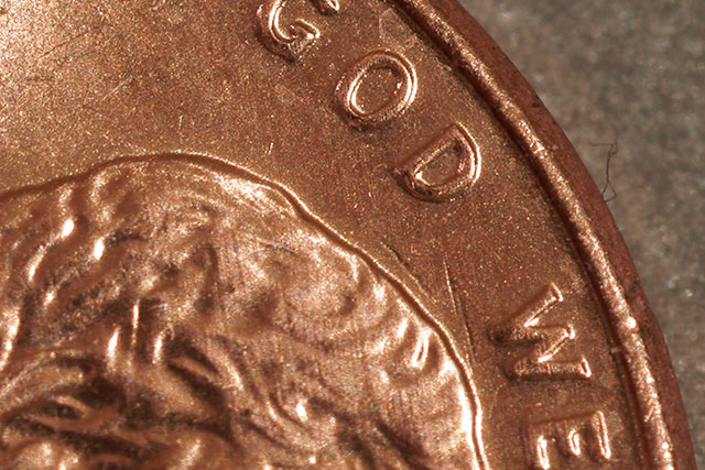 quick macro shot of a penny, 50% size, cropped