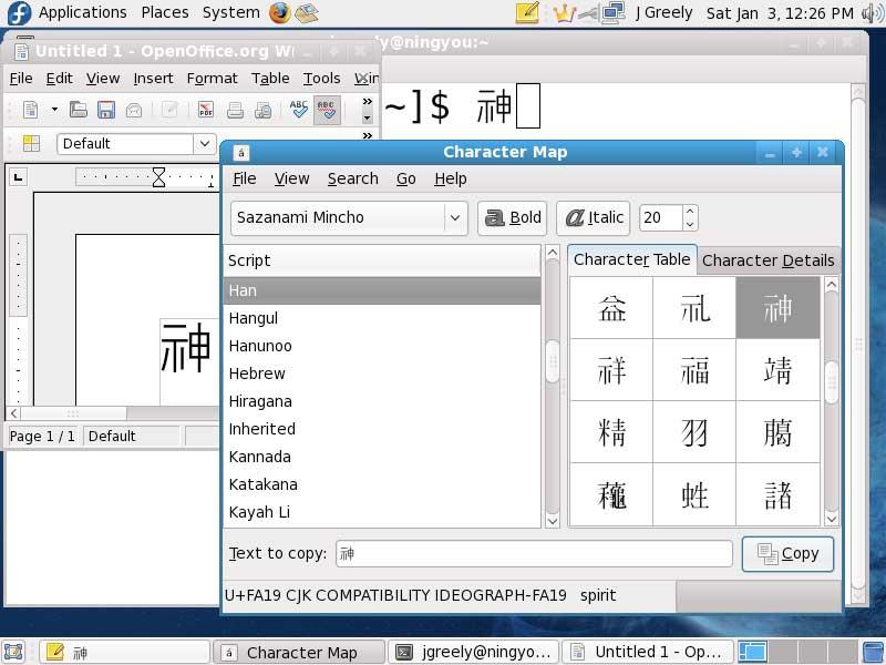 Fedora 10 displaying variant character FA19