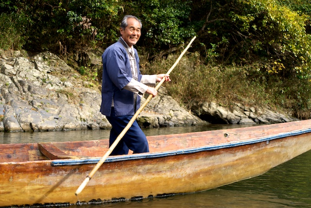 Boatman on the Hozu River