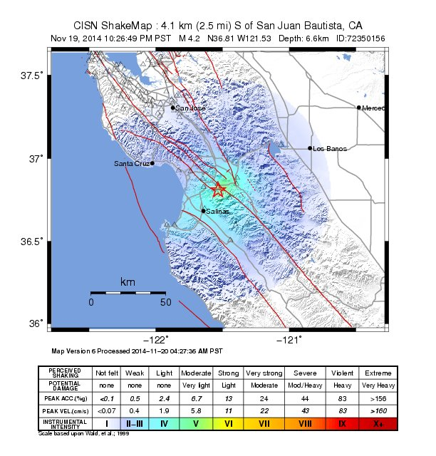 minor earthquake in San Juan Bautista