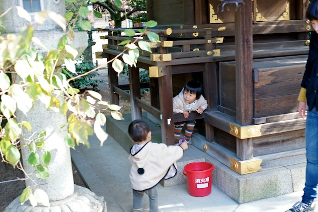 Kids playing at Kitano Tenmangu shrine