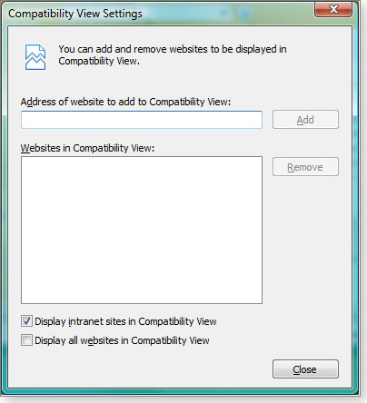 IE 8 compatibility view settings