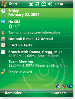 Windows mobile 6.1 screen