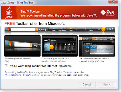 Bing search toolbar offer