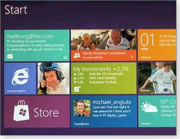 Windows 8 tiled interface