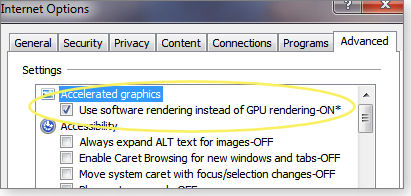 Checking IE graphic acceleration