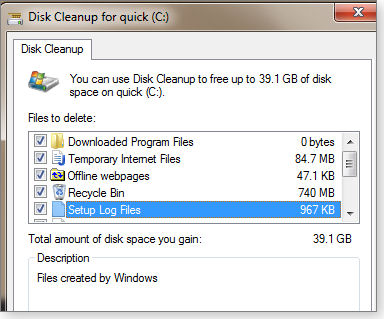 Windows disk cleanup dialog box
