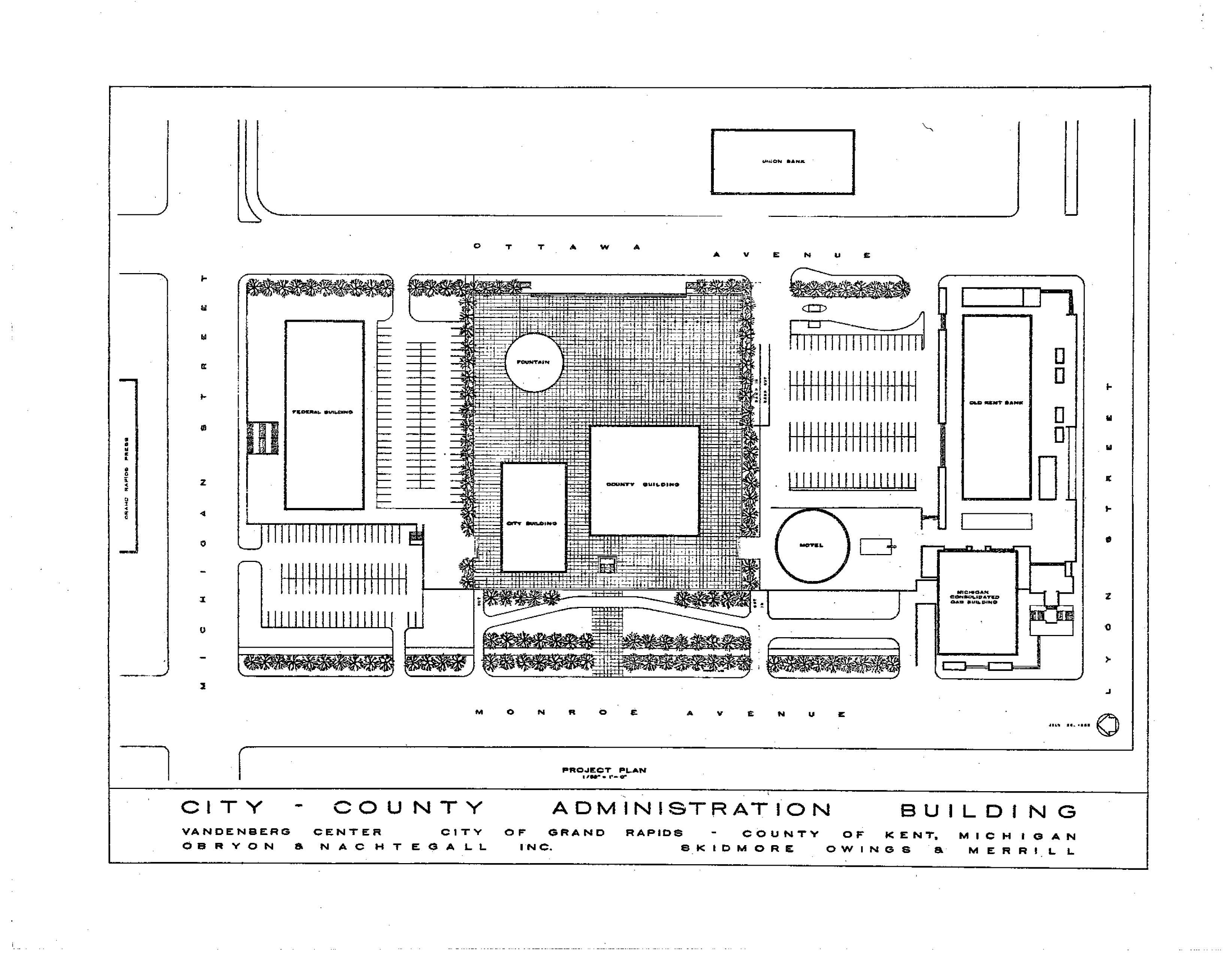 Revitalizing Calder Plaza Downtown Grand Rapids Inc 1998 Nissan Maxima Engine Diagram 1965 Project Plan Of City County Complex Showing Fountain Feature