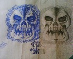 Drawing: two skulls