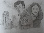 Drawing: The Doctor, Amy and a Weeping Angel