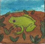 Drawing: Green Tree Frog, painted in watercolour