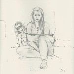 Drawing: Self portrait with Mother