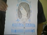 Drawing: blue and white stripes; punk