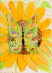 Drawing: Butterfly on Sunflower