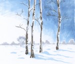 Drawing: Snowy landscape
