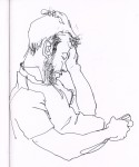 Drawing: Drunk and asleep whilst checking phone.