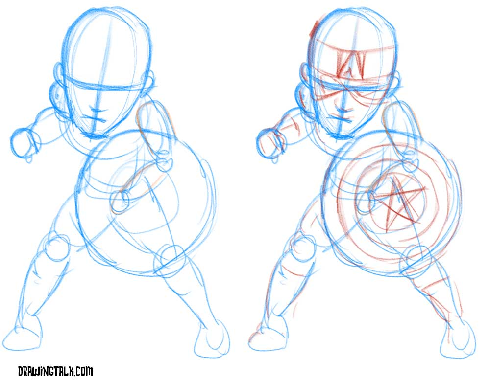 How to draw Captain America caricature 1