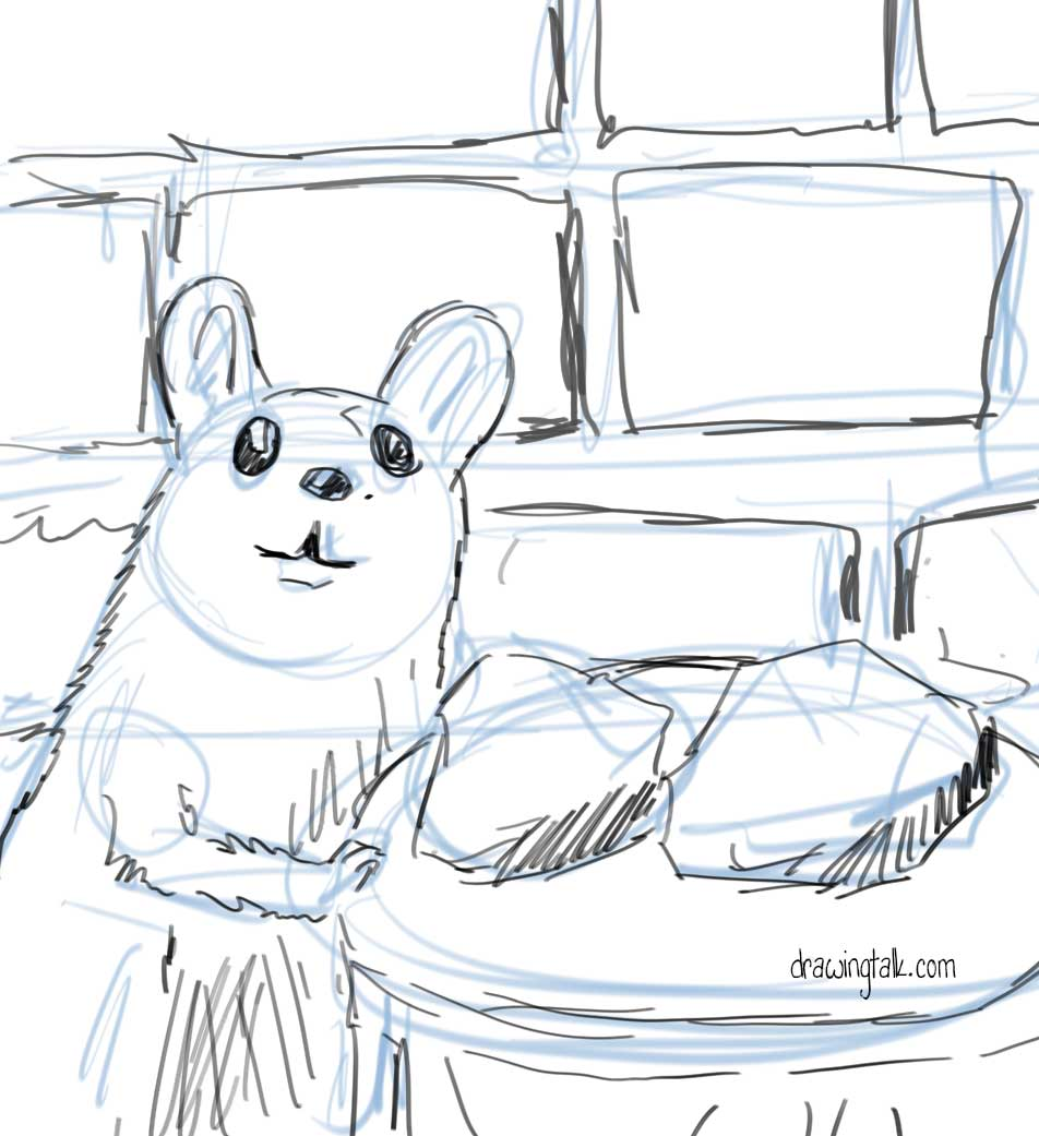 How to draw and paint a cute mouse step 2