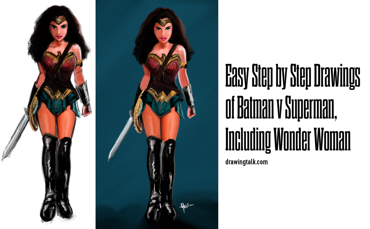 Easy Step by Step Drawings of Batman v Superman including Wonder Woman