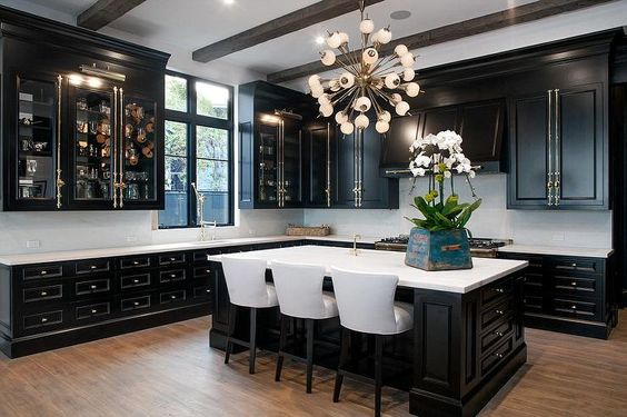 Chic Black Kitchen Cabinets2