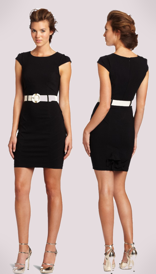 XOXO Juniors Cap Sleeve Belted Sheath Dress (Black)
