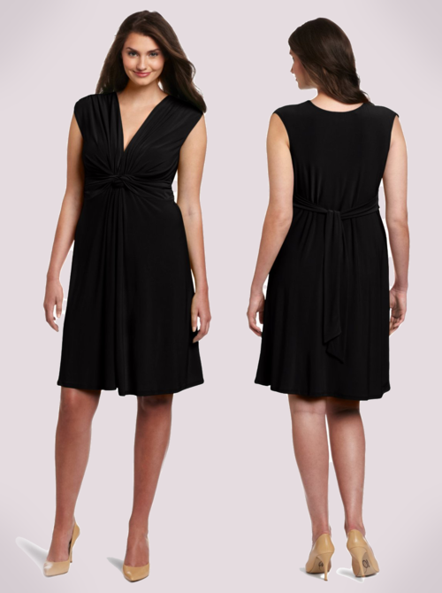 Wrapper Plus-Size V-Neck Dress with Gathered Knot Front Detail (Black)