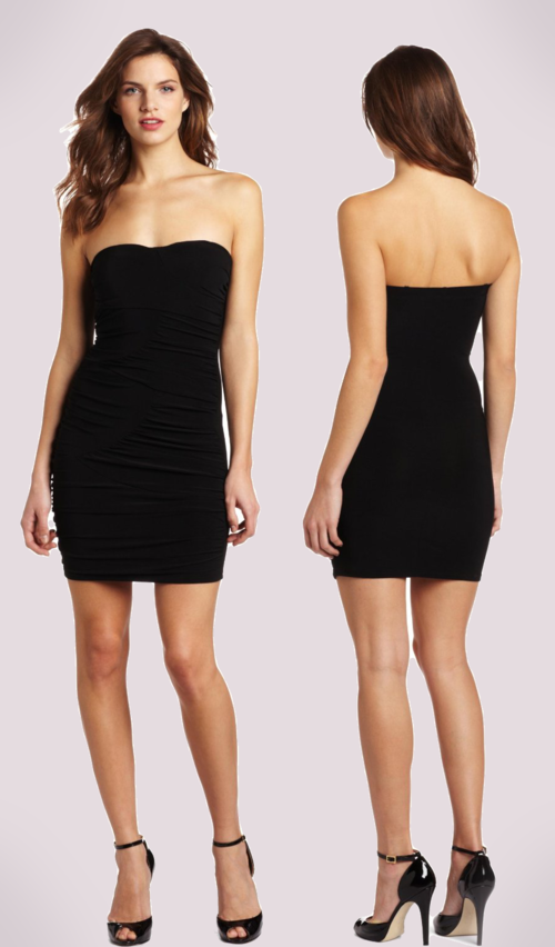 Wrapper Shirred Tube Dress (Black)