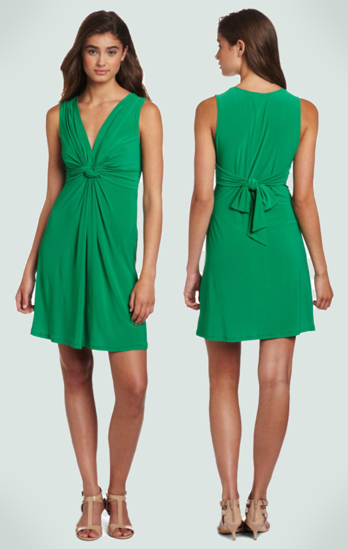 Wrapper Juniors Sleeveless V-Neck Dress (Kelly Green)