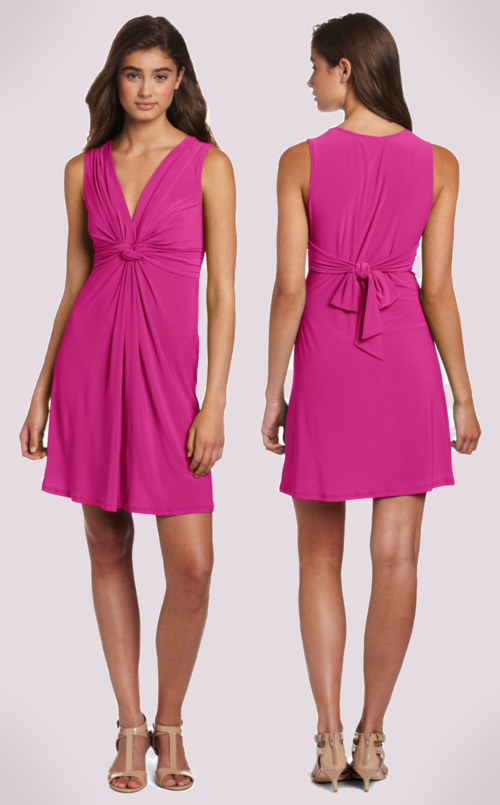Wrapper Juniors Sleeveless V-Neck Dress (Magenta)