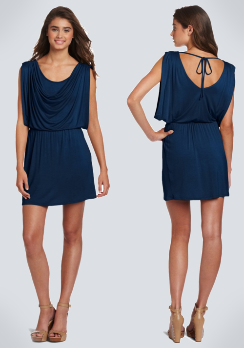 Wrapper V-Back Blouse Jersey Dress (Blue)