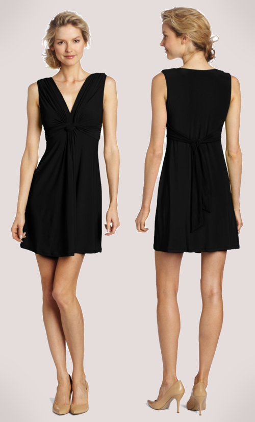 Wrapper V-Neck Dress with Gathered Knot (Black)