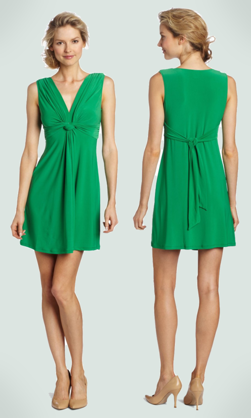 Wrapper V-Neck Dress with Gathered Knot (Kelly Green)