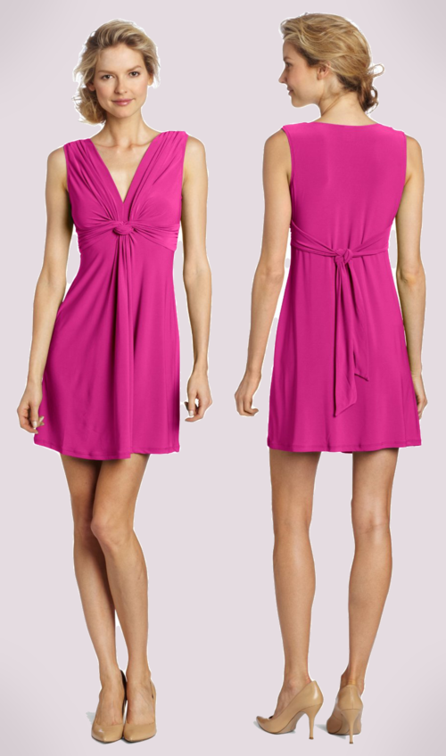 Wrapper V-Neck Dress with Gathered Knot (Magenta)