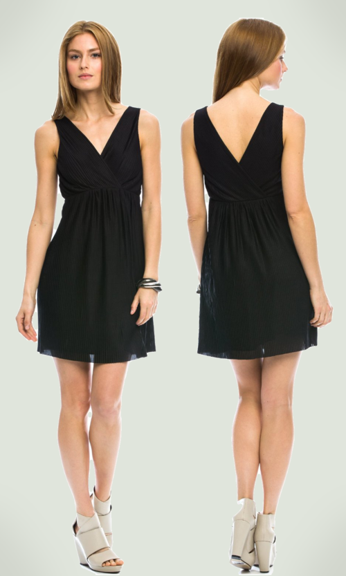Armani Exchange Pleated Swing Dress (Black)