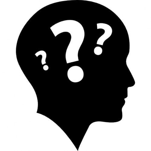 Vista lateral de la cabeza calva con tres signos de interrogacion 318 48742
