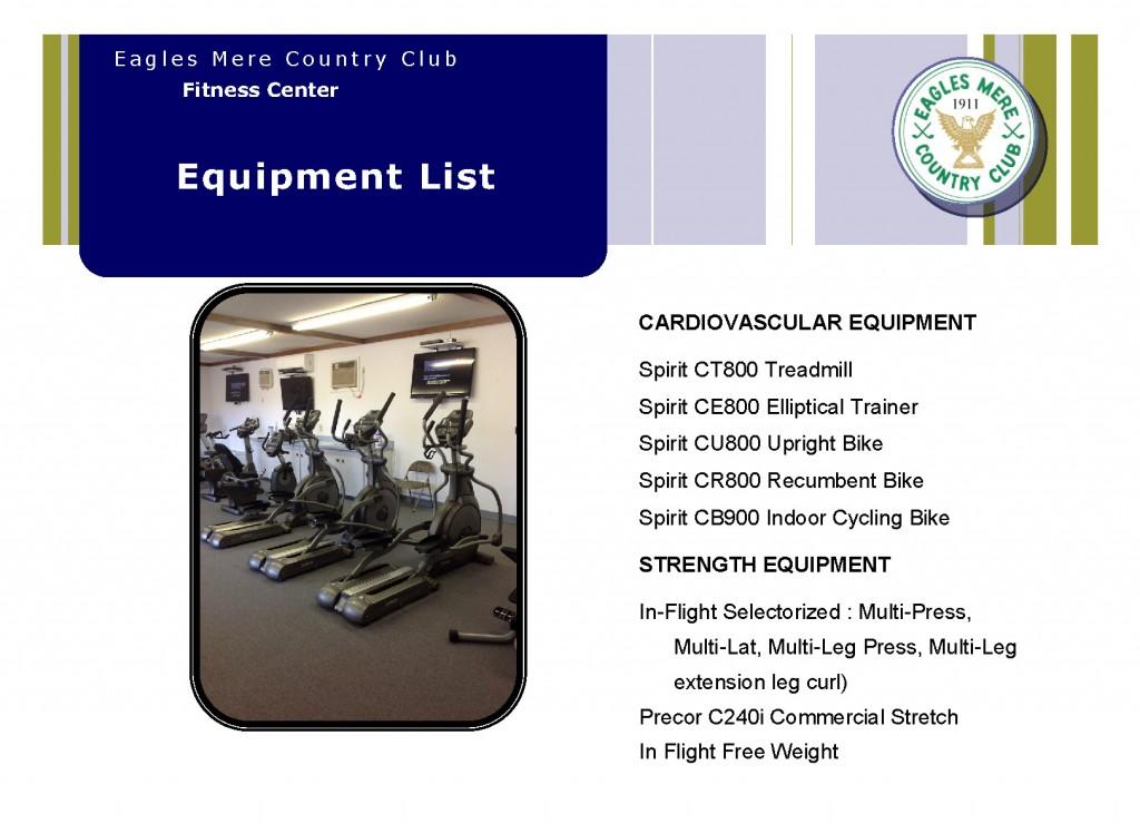 Fitness Center equipment list 2016