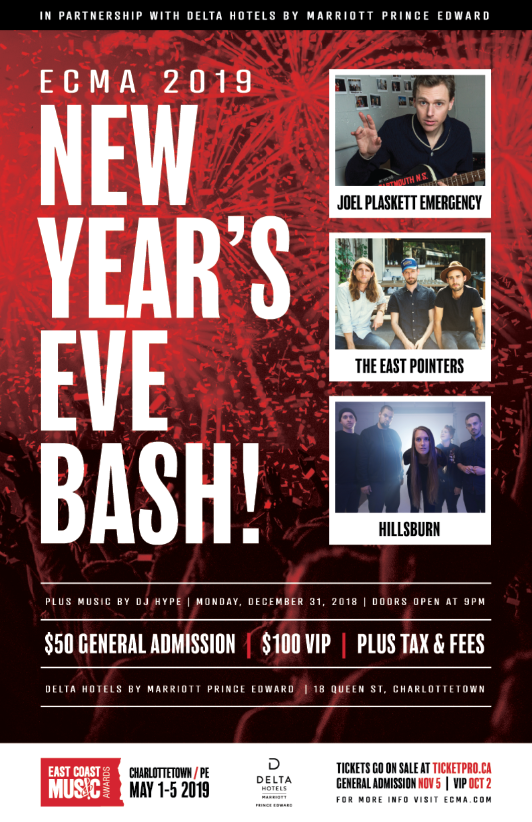 VIP Tickets for ECMA 2019 New Year's Eve Bash in Charlottetown are ON SALE NOW!