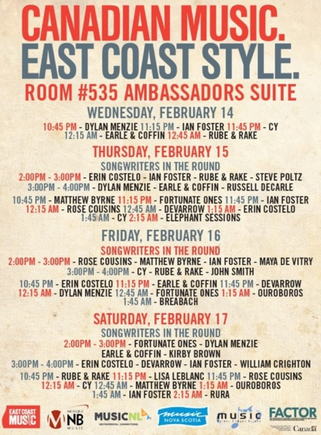 "ECMA, Music/Musique NB, MusicNL, Music NS, and Music PEI Present the ""Canadian Music. East Coast Style. Spotlight"" at the 2018 Folk Alliance International Conference"