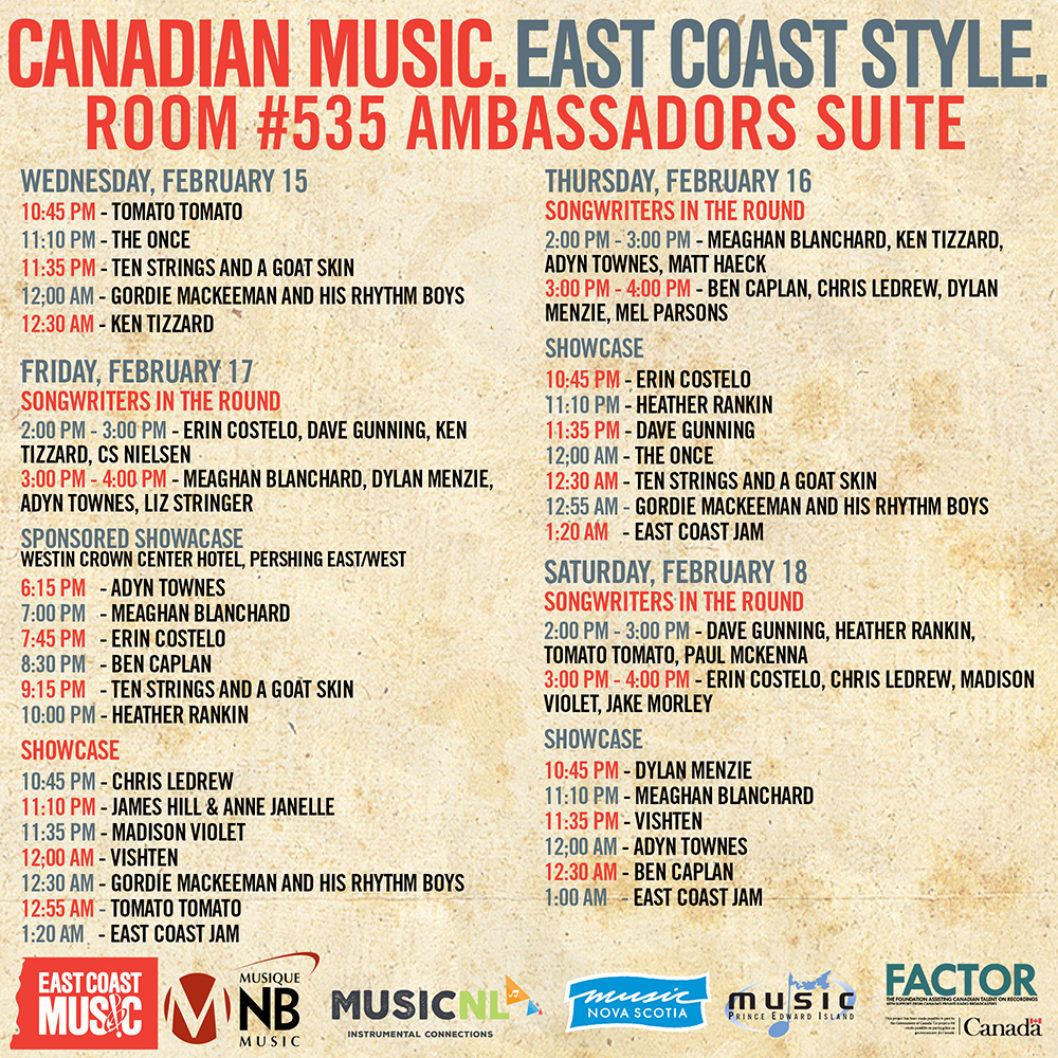 "ECMA, Music/Musique NB, Music NL, Music NS, and Music PEI  Present the ""Canadian Music. East Coast Style Spotlight"" at the  2017 Folk Alliance International Conference"